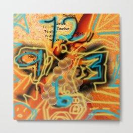 An Orange Clock Pun Metal Print