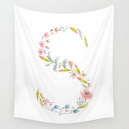 Letter S, floral initial Wall Tapestry