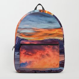 Sunset Pano // Beautiful Rocky Mountain Lake View Colorado Red Orange Sky Backpack