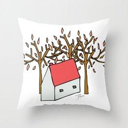 Casita de Otoño Throw Pillow