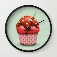cake Wall Clocks featuring Cake by Tatyana Adzhaliyska