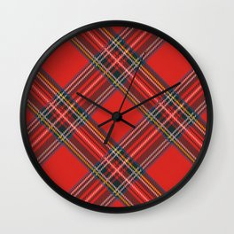 Red Plaid Tartan Wall Clock