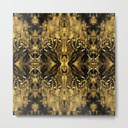 Beautiful Gold Brown  Traditional Pattern Metal Print