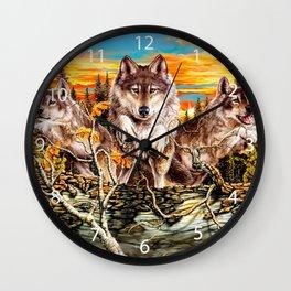 Pack of wolvesrunning Wall Clock