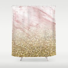 Rose gold marble sunset gradient Shower Curtain