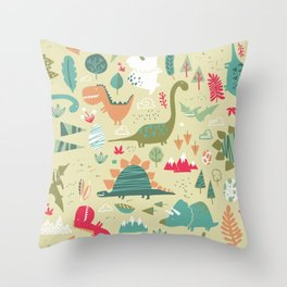 Dino Soup Throw Pillow