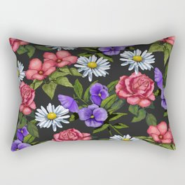 Flowers on Black Background, Original Art Rectangular Pillow