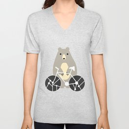 Bear with bike Unisex V-Neck
