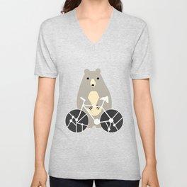 Bear with bike Unisex V-Neck