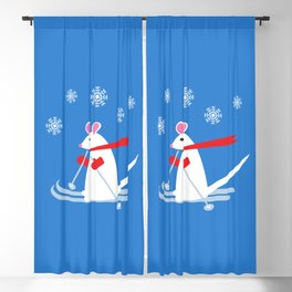 Christmas Mouse on Skis Blackout Curtain