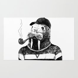 Walrus with a Pipe Rug