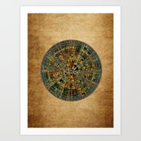 calendar Art Prints featuring Ancient Calendar by Klara Acel