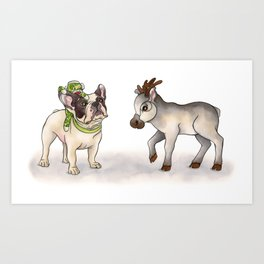 Bubba, Monkey Toy & Reindeer Art Print