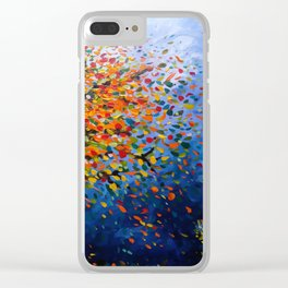 Fall Trees with Leaves Blowing in the Wind by annmariescreations Clear iPhone Case