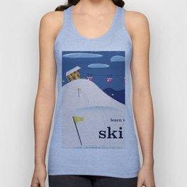 Learn to ski vintage cartoon Unisex Tank Top