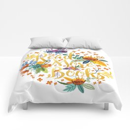 Read More Books - Floral Gold Comforters