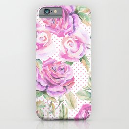 Watercolor hand painted pink lavender roses polka dots iPhone Case