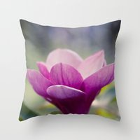 magnolia Throw Pillows featuring magnolia by Sharon Mau