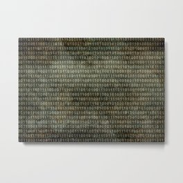 Binary Code with grungy textures Metal Print