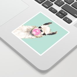 Bubble Gum Sneaky Llama in Green Sticker