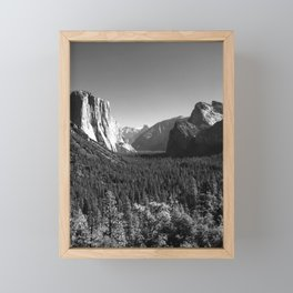 Yosemite Valley Tunnel View under Clear Skies (Black and White) Framed Mini Art Print