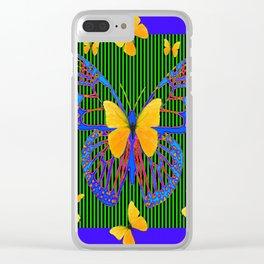 YELLOW BUTTERFLIES  BLUE MODERN ART DESIGN Clear iPhone Case