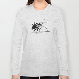 Rat and rainbow. Black on white background-(Red eyes series) Long Sleeve T-shirt