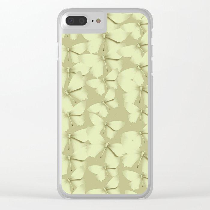 Butterflies Green Vintage Clear iPhone Case