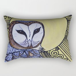 Barn Owl Art Nouveau Panel in yellow Rectangular Pillow