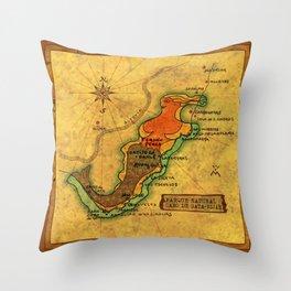 Map Mermaid Cabo de Gata Throw Pillow