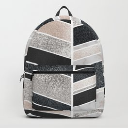 Shimmering Chevron Pattern - white pearl marble, silver and black Backpack