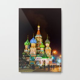 Saint Basil's Cathedral On Moscow Red Square At Winter Night Metal Print