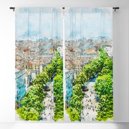 Aquarelle sketch art. Barcelona from above Blackout Curtain