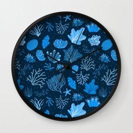 Hand Drawn Deep Sea Coral Pattern Wall Clock