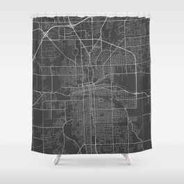 Fort Wayne Map, USA - Gray Shower Curtain