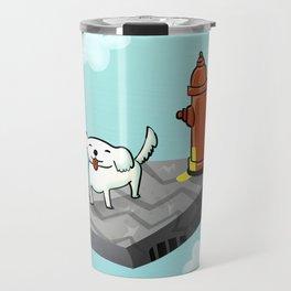 Dog in the sky peeing - Illustration Travel Mug