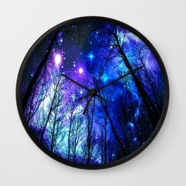 black trees purple blue space Wall Clock