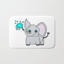 Lovely and funny elephant drawing Bath Mat