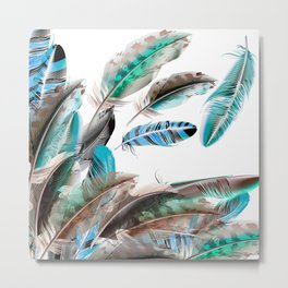 New feathers in Shop / cyan Metal Print