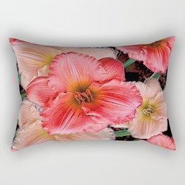 PINK & CREAM DAYLILIES BLACK ART Rectangular Pillow