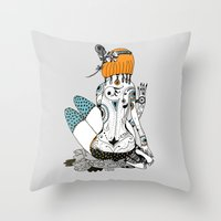 redhead Throw Pillows featuring Redhead by Zinaida Kazantseva