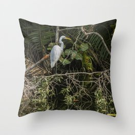 Great White Egret on a Branch Throw Pillow
