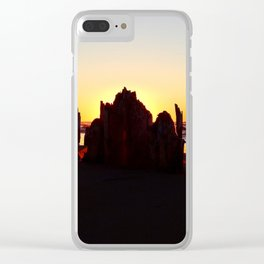 Seaside Sunset behind the wharf remains Clear iPhone Case
