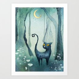 Cat in the forest Art Print
