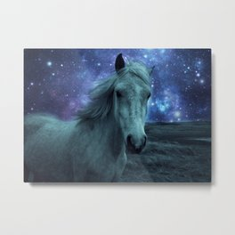 Fairy tale Horse Dark Blue Galaxy Skies Metal Print