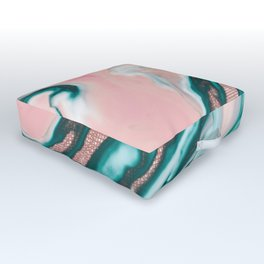 Rose Gold Glitter Pink Teal Swirly Painted Marble Outdoor Floor Cushion