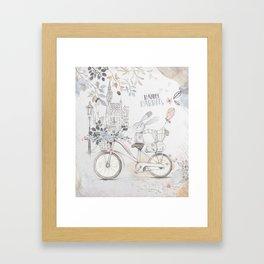 Rabbits on bike  watercolor illustration  Framed Art Print