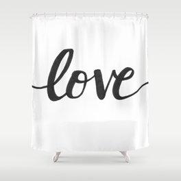 Love Black Shower Curtain