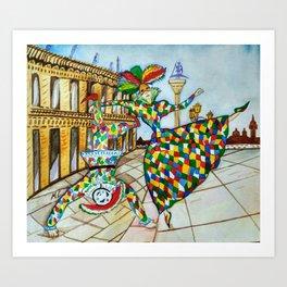 Arlecchino and Colombina. Carnival of Venice. Art Print