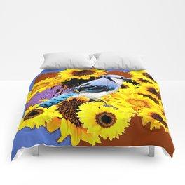 MODERN BLUE  JAY & COFFEE BROWN SUNFLOWERS Comforters